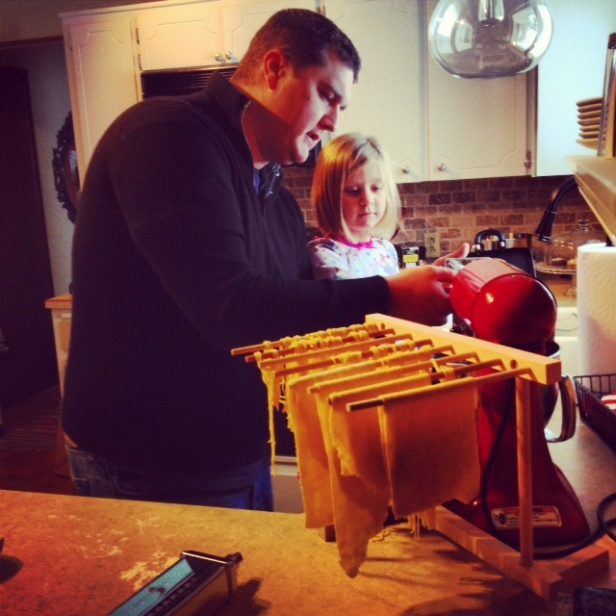 Griffin & SJ trying out the new KA pasta attachment